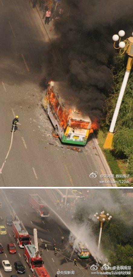 高清图—乌鲁木齐市光明路一辆528A路公交车发生燃烧