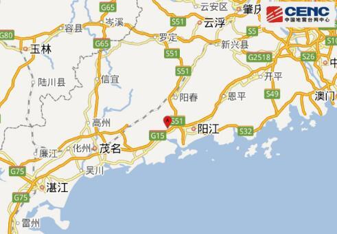 阳江市阳西县(北纬21.88度,东经111.71度)发生2.7级地震